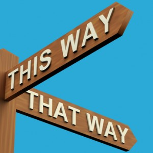 This Or That Way Directions On A Signpost