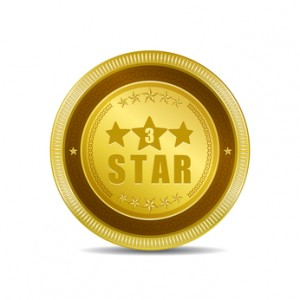 3 Star Golden Vector Icon Button